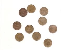10 Pieces 1 Franc Morlon Bronz Alu 1931/32/33/34/36/37/38/39/40/41 - France