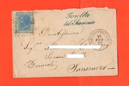 Regno Busta Vuota 20 Centesimi Azzurro Partita Da Torella Del Sannio - Castropignano Vs Sansevero Foggia 1877 - 1861-78 Vittorio Emanuele II