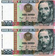 2 Billets De 1000 Intis Le 28 Juin 1988 Du Pérou Neuf - Perù