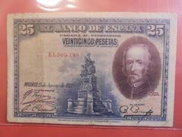 ESPAGNE 25 PESETA 1928 CIRCULER - 1-2-5-25 Pesetas