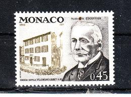 Monaco - 1972. Auguste Escoffier, Celebre Cuoco Francese. Famous French Chef.  MNH - Alimentazione