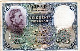 Billet De L'Espagne De 50 Pesetas Du 25-04-1931 En B - - [ 1] …-1931 : Eerste Biljeten (Banco De España)