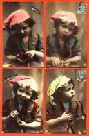 Suite Ou Série Compète De 6 CPA Glaçées Numérotées 1er Avril - Petit Garçon Fumant La Pipe - 2 Scans - Children