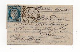 !!! PRIX FIXE : BALLON MONTE LE BAYARD CERTAIN POUR CAEN, AVEC TEXTE INTERESSANT - Guerra De 1870