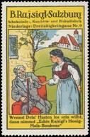 Salzburg: Rajsigls Honig-Malz-Bonbons Reklamemarke - Cinderellas