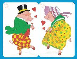 2 CARTES COCHON  / AU DOS CHAT - Cartes à Jouer Classiques