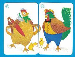 2 CARTES COQ POULE  / AU DOS CHAT - Cartes à Jouer Classiques