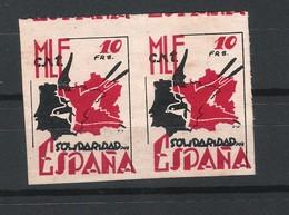 Paire Vignettes Anarchistes MLE CNT En Exil Solidaridad Por España - Viñetas De La Guerra Civil