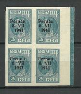 ESTLAND Estonia 1941 German Occupation Pernau Pärnu Michel 3 B As 4-block MNH - Occupation 1938-45