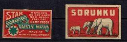 2 Et. Bte Allum. SUEDE - (Sorunku 3 éléphants, Et Star - Wenersborg) - Boites D'allumettes - Etiquettes