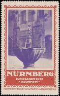 Nürnberg: Dudelsackpfeifer Brunnen Reklamemarke - Erinnophilie