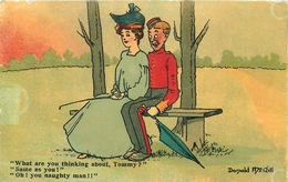 """A VINTAGE DONALD McGILL POSTCARD No. 113 """"WHAT ARE YOU THINKING ABOUT TOMMY"""" POSTED IN 1907 #84928 - Humour"""