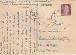 C Postkarte Vert (prisonnier) Obl. Teplitz-Schönau Le 16/5/44 Sur TP Reich 15pf Brun Pour Clermont-ferrand + Contrôle - Deutschland