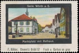 Chemnitz: Marktplatz Mit Rathaus Von Wörth Reklamemarke - Cinderellas