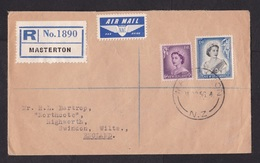 New Zealand: Registered Airmail Cover To UK 1956, 2 Stamps, Air Label Via NAC Airlines, R-label Masterton (minor Damage) - Cartas