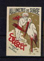 """1 Et. Bte Allum. De Sureté - BELGIQUE - """" SECRET """"  Ange Et Cigogne - Boites D'allumettes - Etiquettes"""