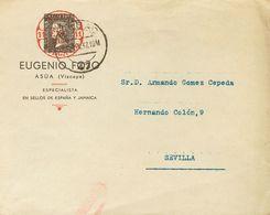 Sobre . 1937. Sobre Sin Circular Con Membrete Que Incluye Una Preciosa Impresión Del 6 Cuartos Negro De 1850 Y La Leyend - Espagne