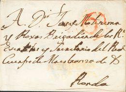 Sobre . (1799ca). ANTEQUERA A RONDA, Y Reutilizada De RONDA A PAMPLONA Con La Marca De Franquicia MAESTRANZA DE CABALLER - Spain