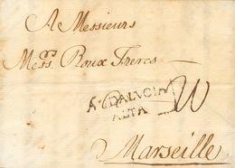 Sobre . 1764. MALAGA A MARSELLA (FRANCIA). Marca ANDALVCIA / ALTA (P.E.4) Edición 2004. MAGNIFICA Y MUY RARA. - Spain