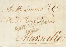 Sobre . 1784. MALAGA A MARSELLA (FRANCIA). Marca ANDALVCIA / BAGA (P.E.7) Edición 2004. MAGNIFICA. - Spain