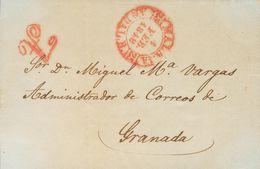 """Sobre . 1848. MALAGA A GRANADA. Marca """"A"""", En Rojo De Abono (P.E.25) Edición 2004 (esta Marca Fue Utilizada Como Matasel - Espagne"""
