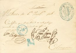 """Sobre . 1859. MALAGA A COLMENAR (MADRID). Marca """"A"""", En Azul De Abono (P.E.25) Edición 2004 (esta Marca Fue Utilizada Co - Espagne"""