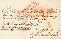 """Sobre . 1849. PONTEVEDRA A MADRID. Marca """"A"""", En Rojo De Abono De Pontevedra (P.E.24) Edición 2004 Y """"S.Y.D."""", En Rojo D - Espagne"""