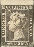*1. 1850. 6 Cuartos Negro, Borde De Hoja Superior (I-6). MAGNIFICO. Cert. CEM. - Spain