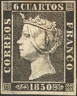(*)1. 1850. 6 Cuartos Negro (I-3). Leve Adelgazamiento. MAGNIFICO. - Spain