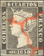 º1(2), 1A. 1850. Conjunto De Tres Sellos (uno Con Margen Justo) Del 6 Cuartos Negro Inutilizados Con Matasello ARAÑA, En - Espagne