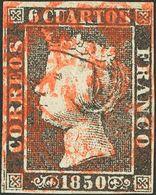 º1(2), 1A. 1850. Conjunto De Tres Sellos Del 6 Cuartos Negro, Dos Con Matasello ARAÑA (uno De Cada Tipo) Y Otro Con Mata - Spain