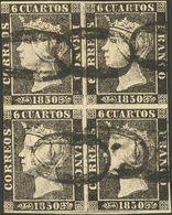 """º1(4). 1850. 6 Cuartos Negro (I-13, 14 / 19, 20), Bloque De Cuatro. Matasello """"O"""", De Lanestosa. MAGNIFICOS Y RARISIMOS  - Spain"""