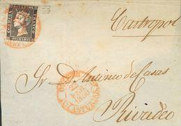 "Sobre 1. 1850. (22-Febrero). 6 Cuartos Negro. OVIEDO A RIVADEO. Matasello ""A"", A La Llegada De Rivadeo. MAGNIFICA Y RARI - Espagne"
