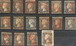 º1, 1A. 1850. Conjunto De Treinta Y Un Sellos Del 6 Cuartos Negro (Planchas I Y II) Inutilizados Con Matasellos ARAÑA (s - Espagne