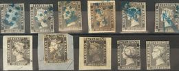 º1, 1A. 1850. Conjunto De Once Sellos Del 6 Cuartos Negro De 1850 (Planchas I Y II) Con Matasellos Diversos Como 11 (lim - Espagne