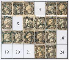 º1(17). 1850. Intento De Reconstrucción Con Diecisiete De Los Veinticuatro Tipos De La Plancha I, Inutilizados Con Matas - Espagne
