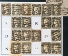 º1(18). (1850ca). Intento De Reconstrucción Con Dieciocho De Los Veinticuatro Tipos De La Plancha I, Inutilizados Con El - Espagne