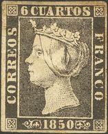 *1A. 1850. 6 Cuartos Negro (II-16). MAGNIFICO. Cert. CEM. - Spain