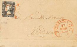 Sobre 1A. 1850. 6 Cuartos Negro. TARAZONA (ZARAGOZA) A TUDELA. Matasello ARAÑA, En Rojo. MAGNIFICA Y RARISIMA, ESPECIALM - Spain