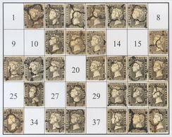 º1A(28). 1850. Intento De Reconstrucción Con Veintiocho De Los Cuarenta Tipos De La Plancha II, Inutilizados Con Matasel - Espagne
