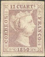 (*)2. 1850. 12 Cuartos Lila (leve Adelgazamiento). MAGNIFICO. Dictamen CEM. - Spain