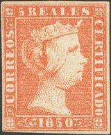 (*)3. 1850. 5 Reales Rojo (leve Adelgazamiento). MAGNIFICO. Dictamen CEM. - Spain