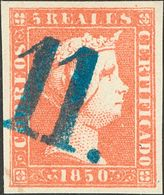 """º3F. 1850. 5 Reales Rojo FALSO SPERATI. Matasello """"11"""", En Azul De Zaragoza. MAGNIFICO. - Espagne"""