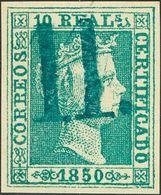 "º5F. 1850. 10 Reales Verde FALSO SPERATI. Matasello ""11"", En Azul De Zaragoza. MAGNIFICO Y RARO. - Spain"