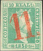 "º5F. 1850. 10 Reales Verde FALSO SPERATI. Matasello ""11"", En Rojo De Zaragoza (este Color Nunca Se Utilizó En Zaragoza C - Spain"