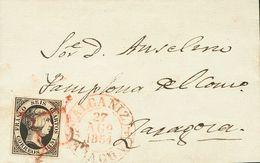Sobre 6. 1851. 6 Cuartos Negro. ALCAÑIZ (TERUEL) A ZARAGOZA. Matasello ARAÑA, En Rojo Y En El Frente Baeza ALCAÑIZ / ARA - Espagne