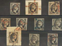 º6(10). 1851. Conjunto De Diez Sellos Del 6 Cuartos Negro De 1851, Inutilizados Con Matasello ARAÑA, En Negro, Rojo Y Az - Espagne