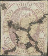 º7. 1851. 12 Cuartos Lila. MAGNIFICO. Cert. GRAUS. - Espagne