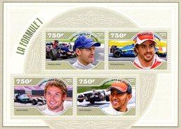 Niger 2014  -  Formula 1 -  Sebastian Vettel-Fernando Alonso-Jenson Button-Lewis Hamilton - 4v Feuillet Neuf/Mint/MNH - Automobile