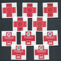 Tonga 1970 Red Cross Self Adhesive Both Postage And Air Sets 5 MNH (10) - Tonga (1970-...)